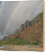 Rainbow At Kalalau  Wood Print