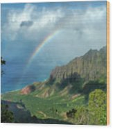 Rainbow At Kalalau Valley Wood Print