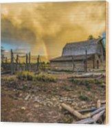 Rainbow At Moulton Barn Wood Print
