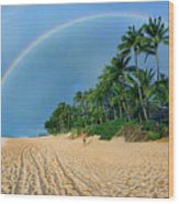 Rainbow At Pipeline, North Shore,  Wood Print