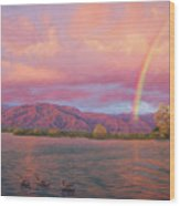 Rainbow At Sunset Wood Print