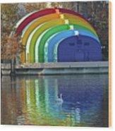 Rainbow Bandshell And Swan Wood Print