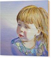 Rainbow Breeze Girl Portrait Wood Print
