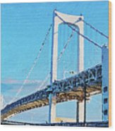 Rainbow Bridge In Tokyo Wood Print