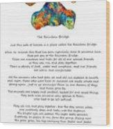 Rainbow Bridge Poem With Colorful Paw Print By Sharon Cummings Wood Print
