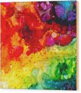 Rainbow Bubbles Wood Print