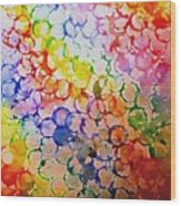 Rainbow Bubbles Wood Print