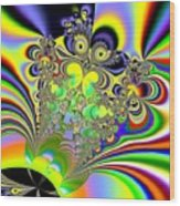 Rainbow Butterfly Bouquet Fractal Abstract Wood Print