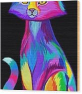 Rainbow Cat Wood Print