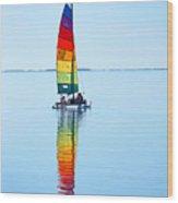 Rainbow Catamaran Wood Print