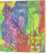 Rainbow Cats 2017 07 01 Wood Print