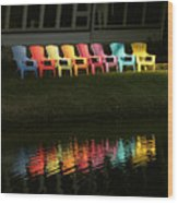 Rainbow Chairs  Wood Print