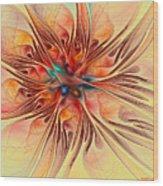 Rainbow Colored Flower Wood Print