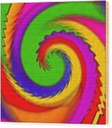 Rainbow Coloured Cock Swirl H B Wood Print