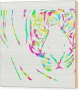 Rainbow Coloured Tiger Wood Print