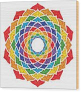 Rainbow - Crown Chakra - Pointillism Wood Print
