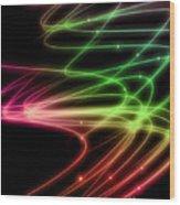 Rainbow Curves Wood Print