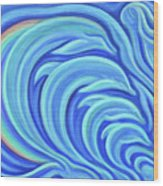 Rainbow Dolphins Wood Print