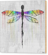 Abstract Dragonfly - White Rainbow Wood Print