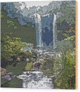 Rainbow Falls Green Wood Print
