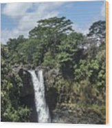 Rainbow Falls Hawaii Wood Print