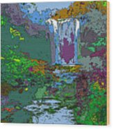 Rainbow Falls Purple Wood Print