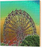 Rainbow Ferris Wheel Wood Print