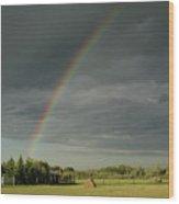 Rainbow Field Wood Print