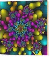 Rainbow Fireworks Fractal Wood Print