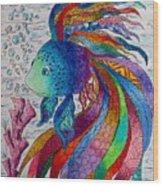 Rainbow Fish Wood Print