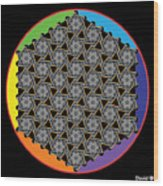Rainbow Flower Of Life Wob Wood Print