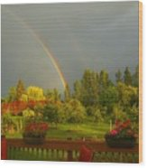 Rainbow From The Back Deck Wood Print