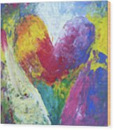 Rainbow Heart In The Cloud Acrylic Paintings Wood Print