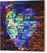 Rainbow Heart On A Wall Wood Print
