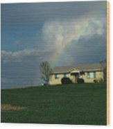 Rainbow House Wood Print
