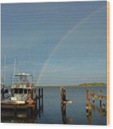Rainbow In Apalachicola Fl Wood Print