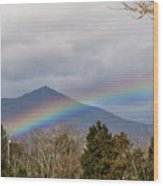 Rainbow In Front Of Sharp Top Wood Print