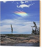 Rainbow In The Clouds Wood Print