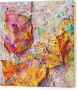 Rainbow Abstract Leaves Wood Print