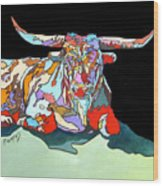Rainbow Longhorn Wood Print
