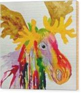Rainbow Moose Head  - Abstract Wood Print