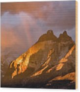 Rainbow Mountain In The Storm Wood Print