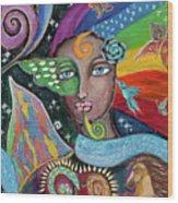 Rainbow Muse Wood Print