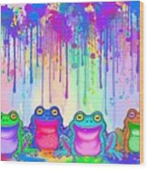 Rainbow Of Painted Frogs Wood Print