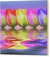 Rainbow Of Roses II Wood Print