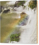 Rainbow On The Falls Wood Print