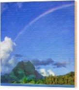 Rainbow Over Bora Bora Wood Print