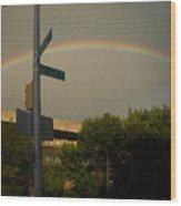 Rainbow Over Brooklyn Wood Print