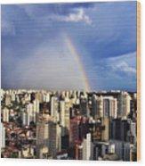 Rainbow Over City Skyline - Sao Paulo Wood Print