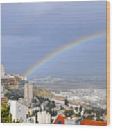 Rainbow Over Haifa, Israel  Wood Print